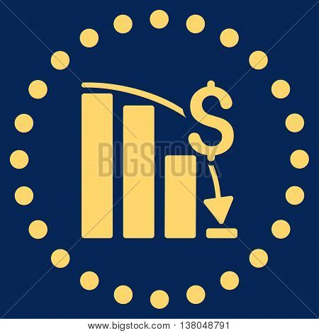 Financial Crisis vector icon. Style is flat circled symbol, yellow color, rounded angles, blue background.