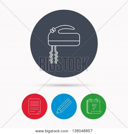 Blender icon. Mixer sign. Calendar, pencil or edit and document file signs. Vector