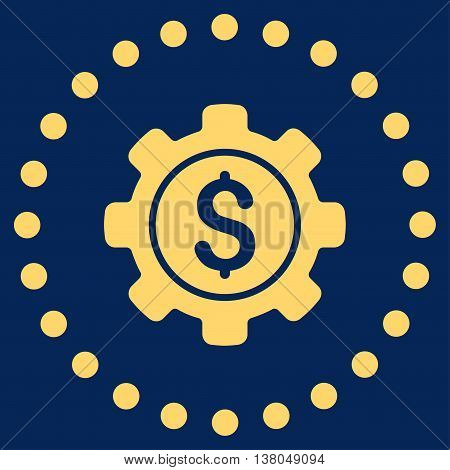 Financial Options vector icon. Style is flat circled symbol, yellow color, rounded angles, blue background.
