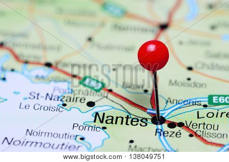 Nantes pinned on a map of France