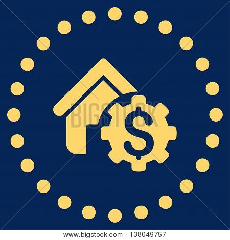 House Rent Options vector icon. Style is flat circled symbol, yellow color, rounded angles, blue background.