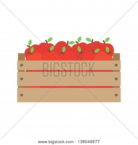 box with fresh red apples. In flat style. Vector illustration.