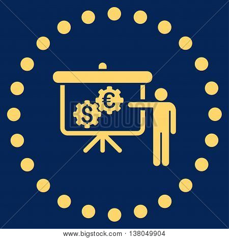 International Banking Project vector icon. Style is flat circled symbol, yellow color, rounded angles, blue background.