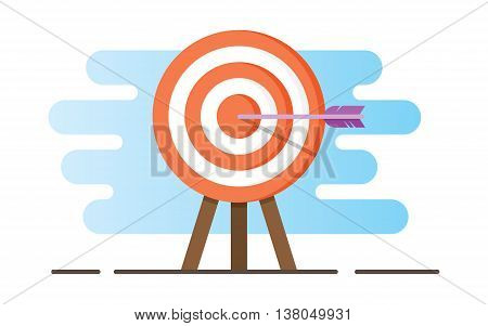 Target vector icon in a flat style. Illustration of a target with an arrow.