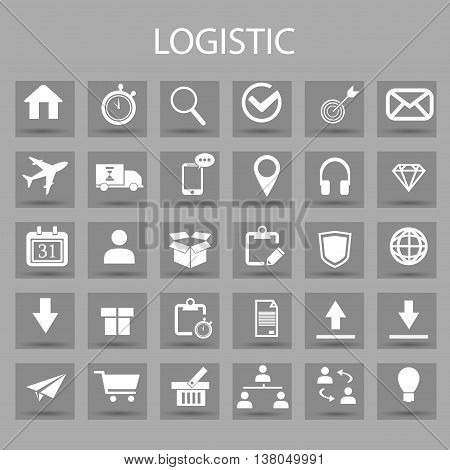 Vector flat icons set and graphic design elements. Illustration with Logistic, delivery business, distribution outline symbols. Service, export, shipping, transport linear pictogram