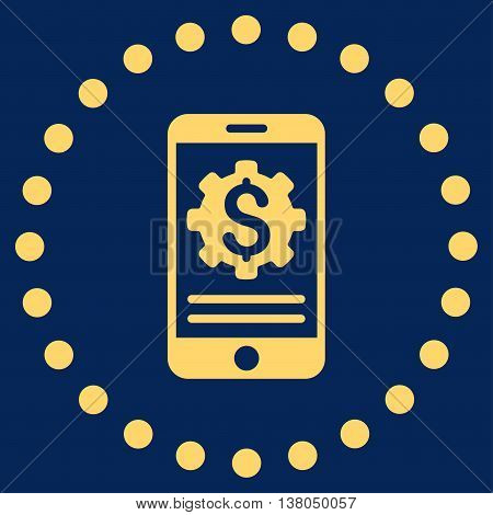 Mobile Bank Options vector icon. Style is flat circled symbol, yellow color, rounded angles, blue background.