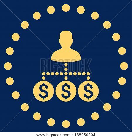 Money Collector vector icon. Style is flat circled symbol, yellow color, rounded angles, blue background.