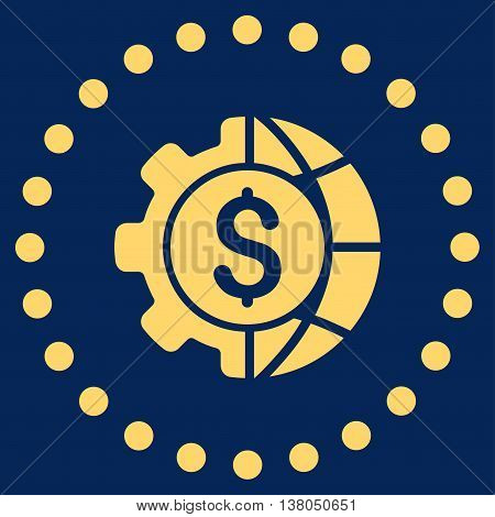 World Industry Finances vector icon. Style is flat circled symbol, yellow color, rounded angles, blue background.