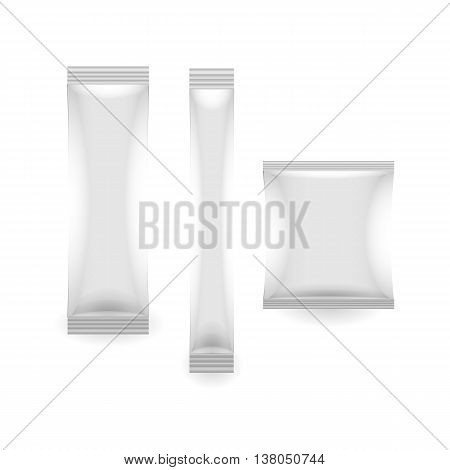 three White Blank Foil Packaging Sachet Coffee Salt Sugar Pepper Or Spices Stick Plastic or paper Pack Ready For Your Design. Snack Product Packing Vector