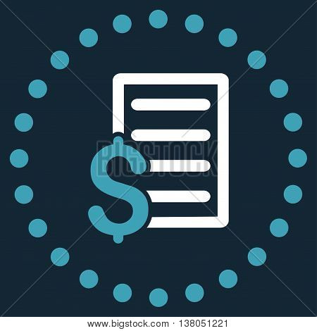 Contract vector icon. Style is bicolor flat circled symbol, blue and white colors, rounded angles, dark blue background.