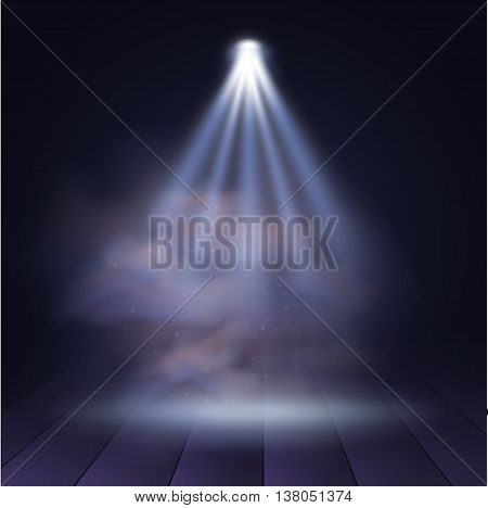 Spotlight disco illuminated wooden scene decoration club theater. Vector projection presentation background illustartion. Spotlight background vector. Stage spotlight. Spotlight effect on scene.