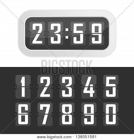 Vector illustration flip clock. Wall flipping clock and number counter template and all numbers with flips.