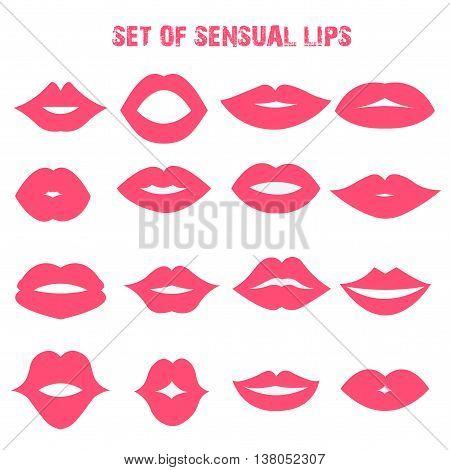 Set of sensual lips. Flat style. Vector illustration.