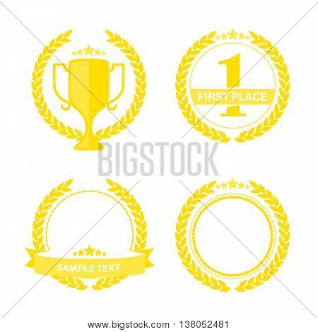 Vector set of a gold laurel wreath with a ribbon for an inscription. Vector Laurel Wreath Flora theme on a white background set. Laurel wreath vector icon in a flat style.