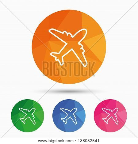 Airplane sign. Plane symbol. Travel icon. Delivery flight flat label. Triangular low poly button with flat icon. Vector