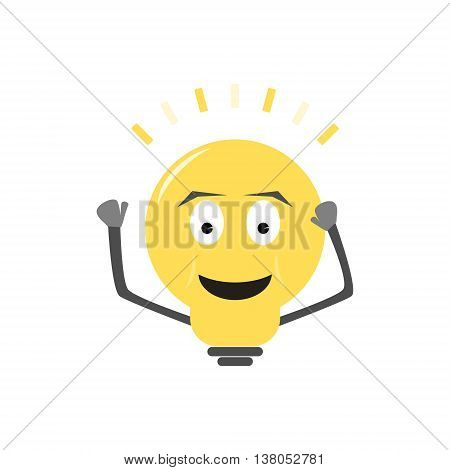 Clever yellow lightbulb is waving and knocking on itself. Bulb character has smile and emits light. Isolated vector illustration in cartoon style.