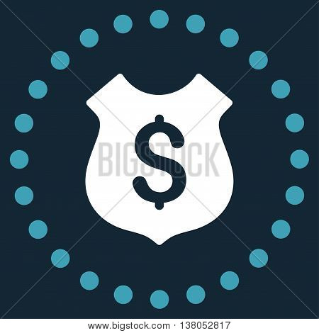 Financial Shield vector icon. Style is bicolor flat circled symbol, blue and white colors, rounded angles, dark blue background.