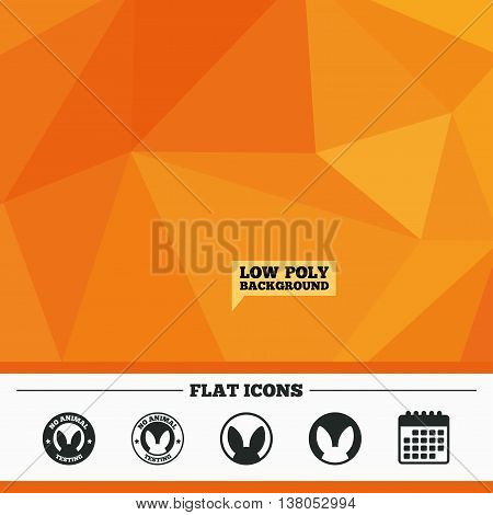 Triangular low poly orange background. No animals testing icons. Non-human experiments signs symbols. Calendar flat icon. Vector