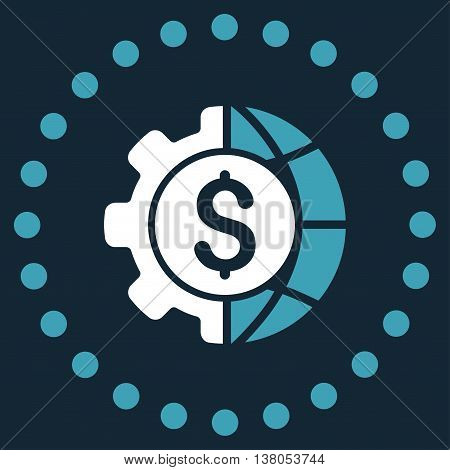 World Industry Finances vector icon. Style is bicolor flat circled symbol, blue and white colors, rounded angles, dark blue background.