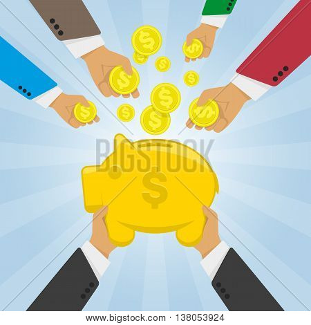 Vector modern flat illustration on multiple hands putting coins into the money box. Piggy bank receiving coins. Crowd funding concept illustration. Hands lay down coins money in piggy bank.