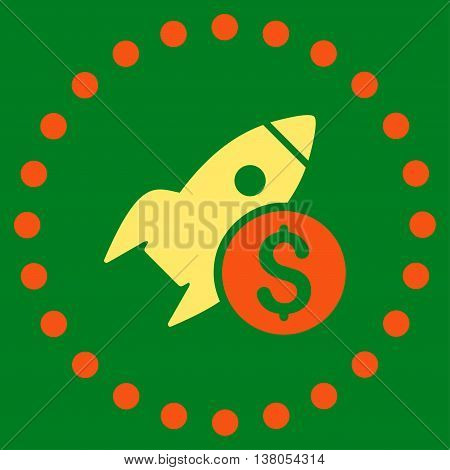 Business Startup vector icon. Style is bicolor flat circled symbol, orange and yellow colors, rounded angles, green background.