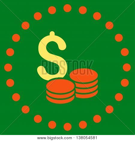 Dollar Cash vector icon. Style is bicolor flat circled symbol, orange and yellow colors, rounded angles, green background.