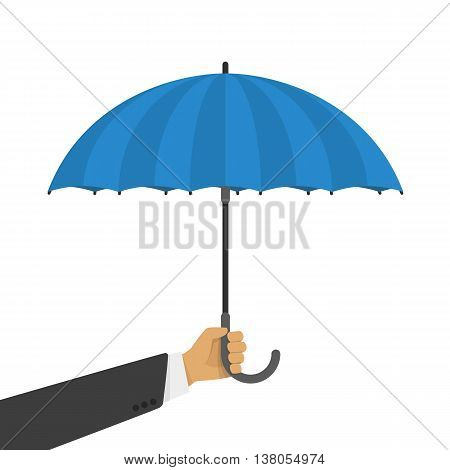 Vector illustration of a blue umbrella in the hand of man. Beautiful umbrella in the human hand shown in a flat style.