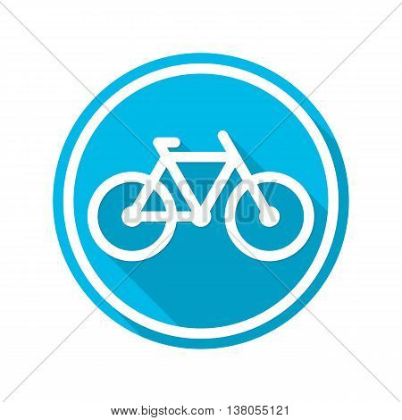 Vector icon bike with a long shadow. Bike logo flat style on a blue background.