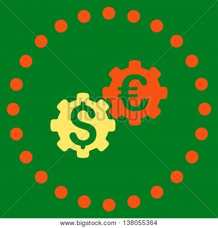 Financial Mechanics vector icon. Style is bicolor flat circled symbol, orange and yellow colors, rounded angles, green background.
