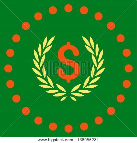 Laurel Bank Emblem vector icon. Style is bicolor flat circled symbol, orange and yellow colors, rounded angles, green background.
