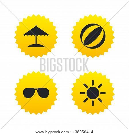 Beach holidays icons. Ball, umbrella and sunglasses signs. Summer sun symbol. Yellow stars labels with flat icons. Vector