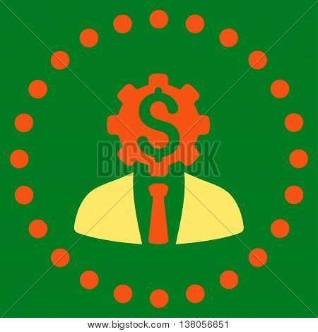 Office Worker vector icon. Style is bicolor flat circled symbol, orange and yellow colors, rounded angles, green background.