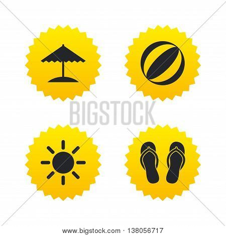 Beach holidays icons. Ball, umbrella and flip-flops sandals signs. Summer sun symbol. Yellow stars labels with flat icons. Vector