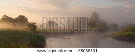 Bright summer foggy morning on a lake, misty sunrise