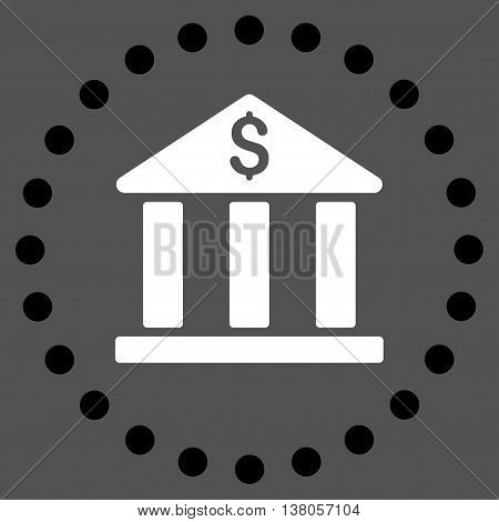 Bank Building vector icon. Style is bicolor flat circled symbol, black and white colors, rounded angles, gray background.