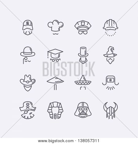 Vector modern flat design icons characters with different hats, beards, glasses