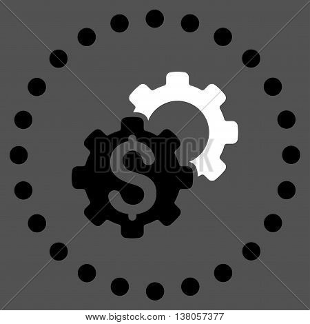 Bank Tuning vector icon. Style is bicolor flat circled symbol, black and white colors, rounded angles, gray background.