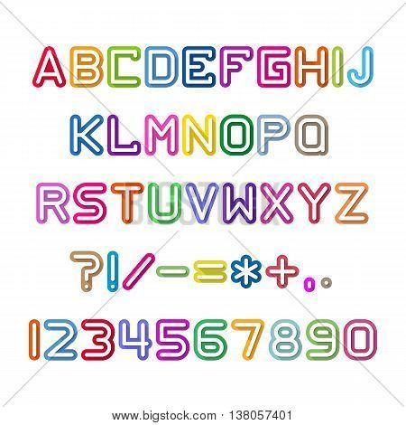 Fun english alphabet letters set. Font style, vector design template elements.