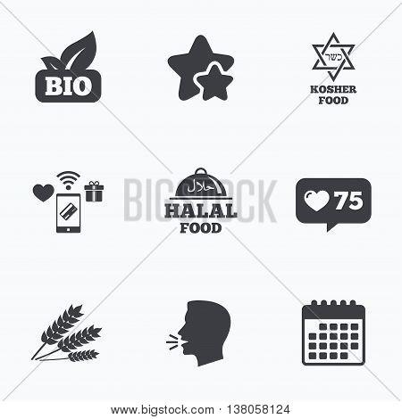 Natural Bio food icons. Halal and Kosher signs. Gluten free and star of David symbols. Flat talking head, calendar icons. Stars, like counter icons. Vector
