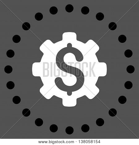 Dollar Options vector icon. Style is bicolor flat circled symbol, black and white colors, rounded angles, gray background.