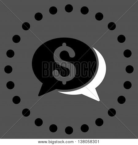 Financial Chat vector icon. Style is bicolor flat circled symbol, black and white colors, rounded angles, gray background.