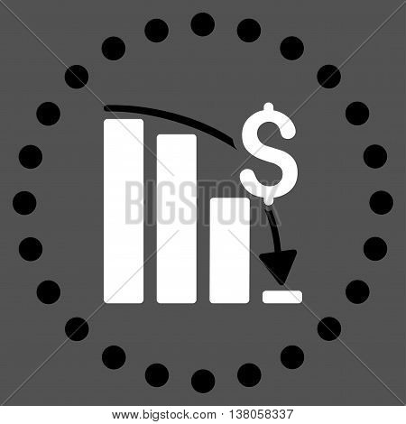 Financial Crisis vector icon. Style is bicolor flat circled symbol, black and white colors, rounded angles, gray background.