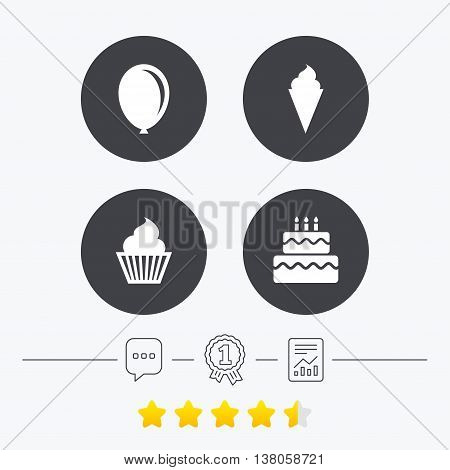 Birthday party icons. Cake with ice cream signs. Air balloon symbol. Chat, award medal and report linear icons. Star vote ranking. Vector
