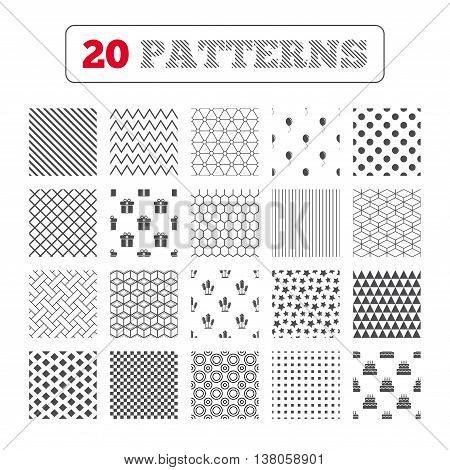 Ornament patterns, diagonal stripes and stars. Birthday party icons. Cake and gift box signs. Air balloons and fireworks rockets symbol. Geometric textures. Vector