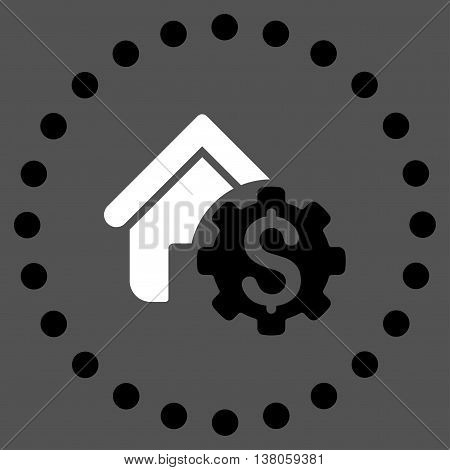 House Rent Options vector icon. Style is bicolor flat circled symbol, black and white colors, rounded angles, gray background.