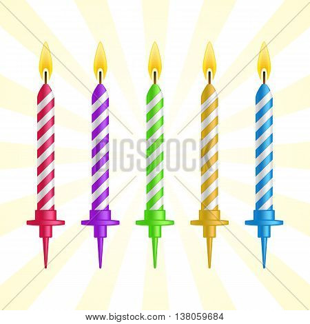 Realistic 3d colorful birthday cake burning candles set on blue background vector illustration.
