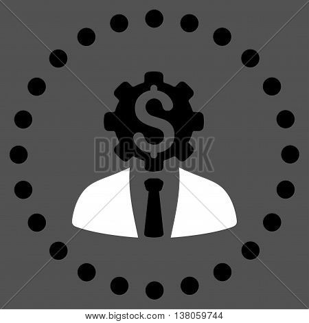 Office Worker vector icon. Style is bicolor flat circled symbol, black and white colors, rounded angles, gray background.