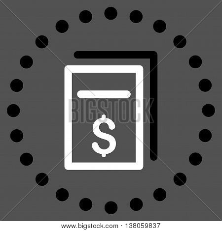 Price Copy vector icon. Style is bicolor flat circled symbol, black and white colors, rounded angles, gray background.
