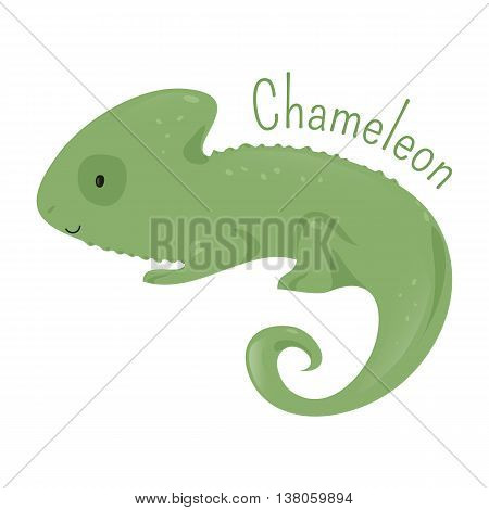 Chameleon isolated on white. Chamaeleons family Chamaeleonidae. Clade of old world lizards. Part of series of cartoon savannah animal species. Sticker for kids. Child fun pattern icon. Vector