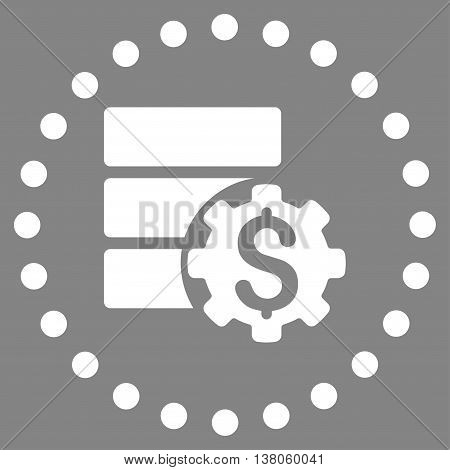 Bank Database Options vector icon. Style is flat circled symbol, white color, rounded angles, gray background.